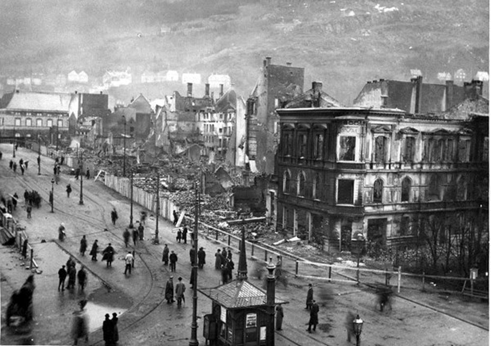 Da byen brant: Katastrofen iaktas av bergenserene