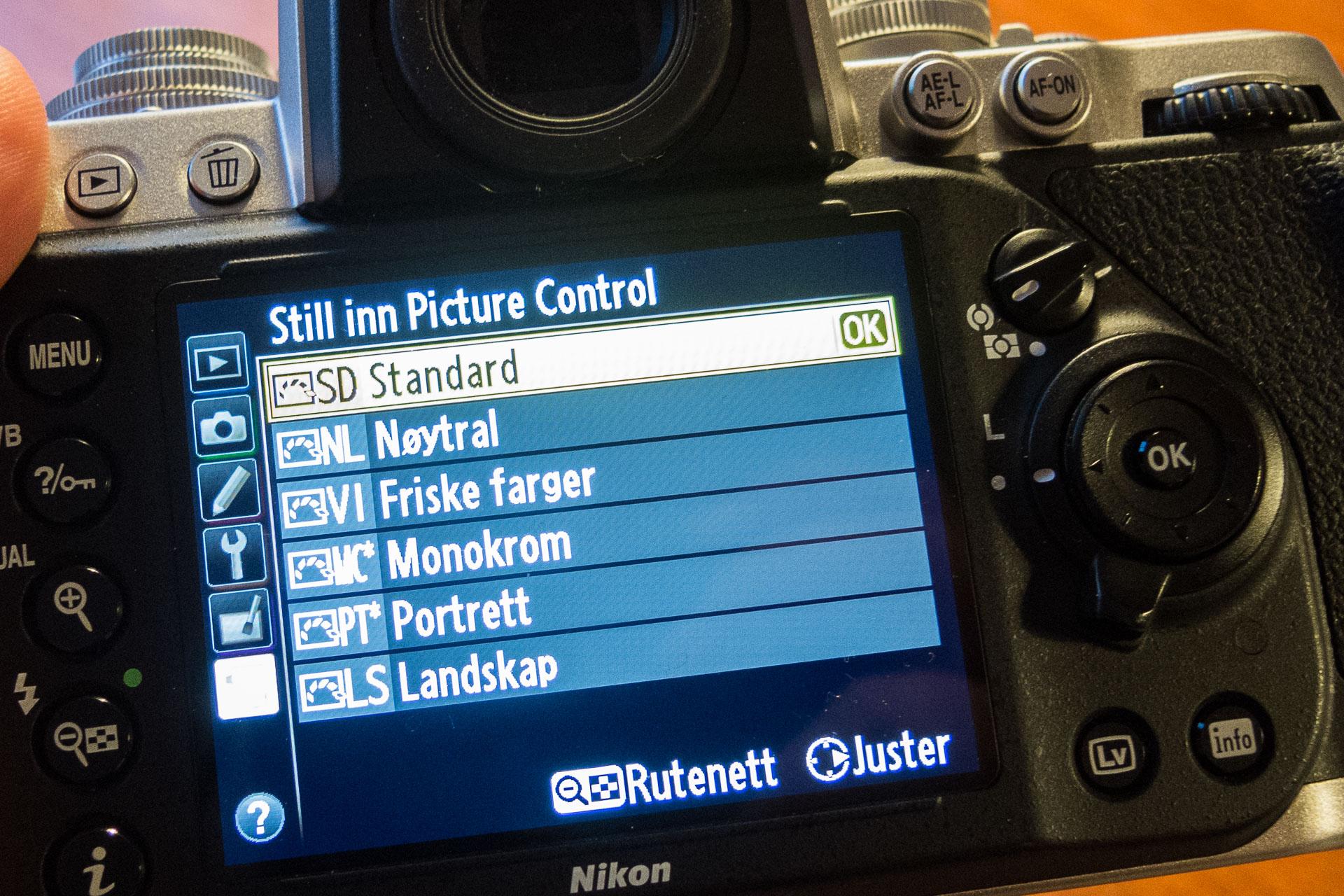 """Valg av """"Picture Control"""" på et Nikon Df"""