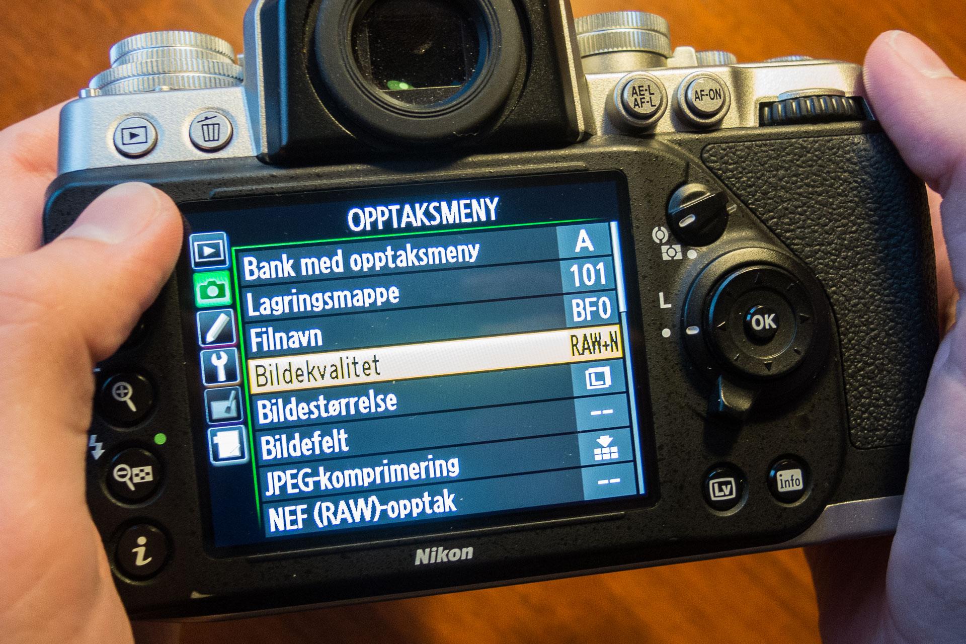 Valg av filformat på et Nikon Df