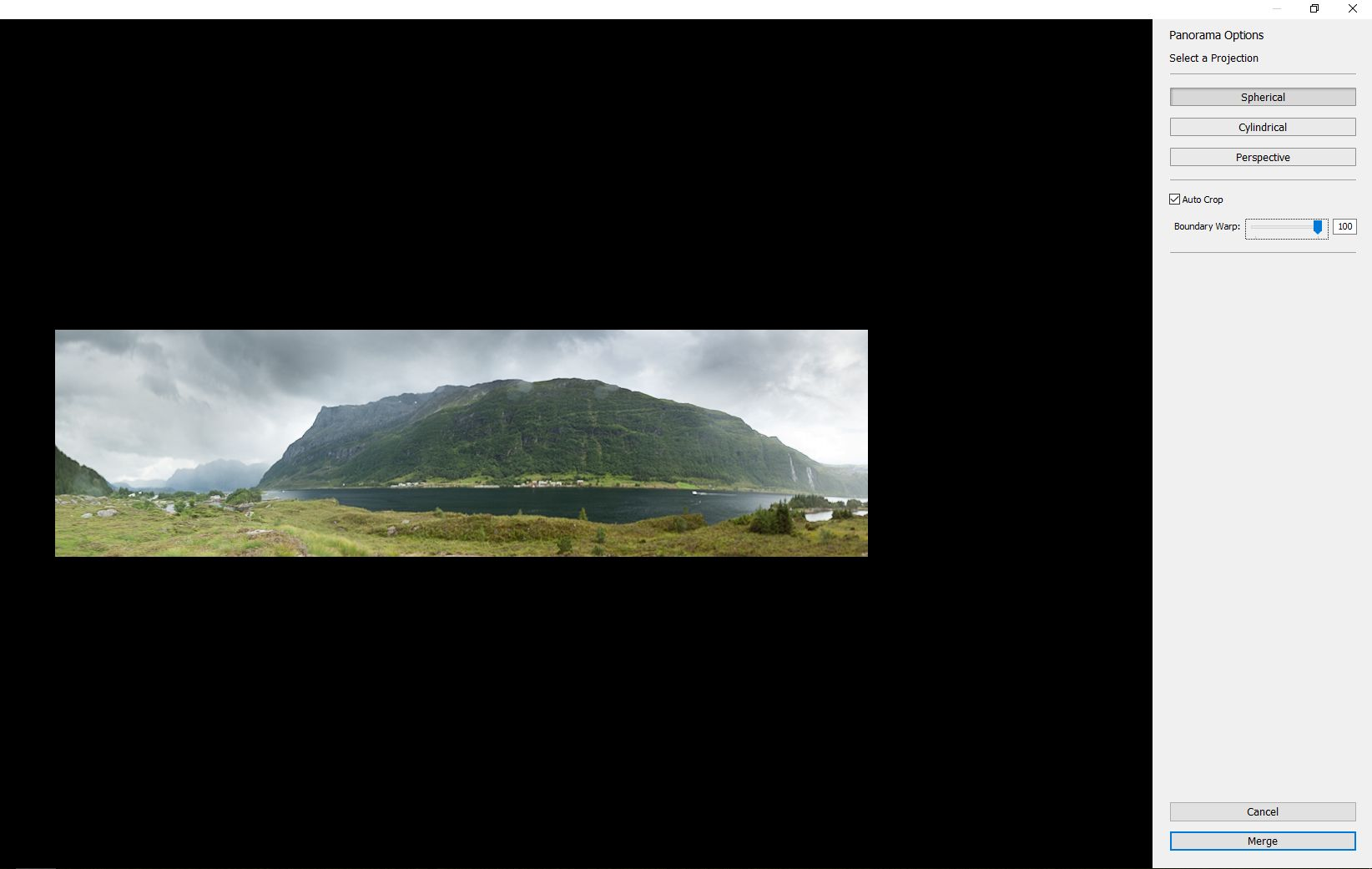Panoramabilde, Boundary Warp