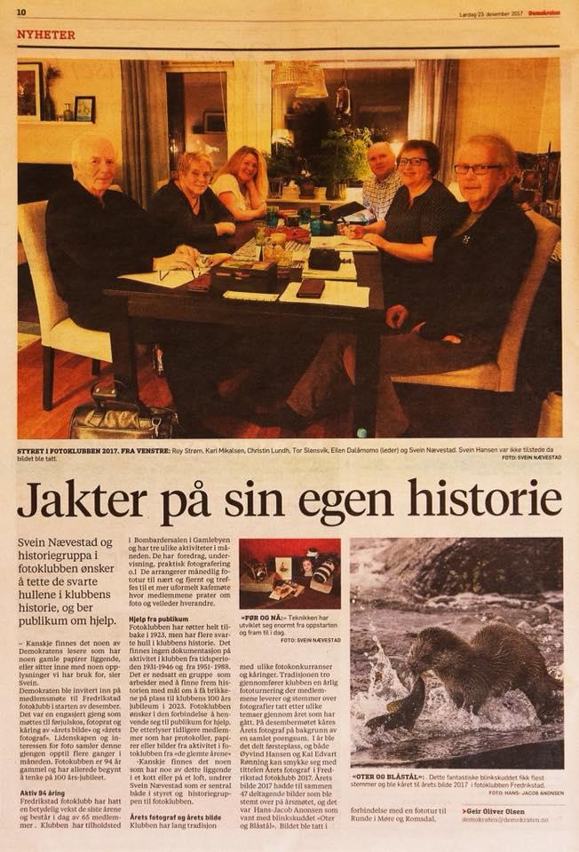 Fredrikstad fotoklubb, faksimile Demokraten 23. des 2017