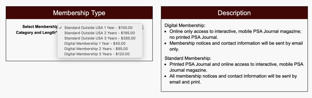 Medlemskapspriser PSA 2019
