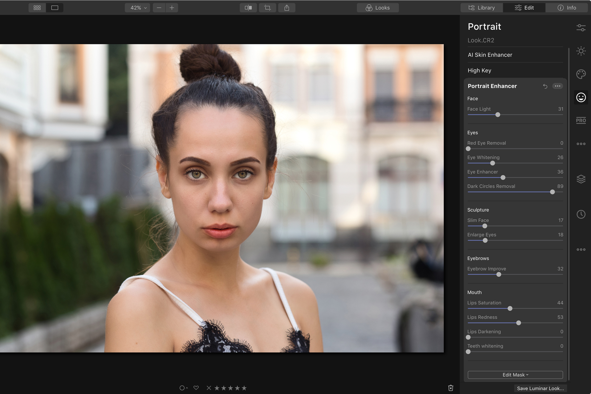 Luminar 4 AI portrait enhancer