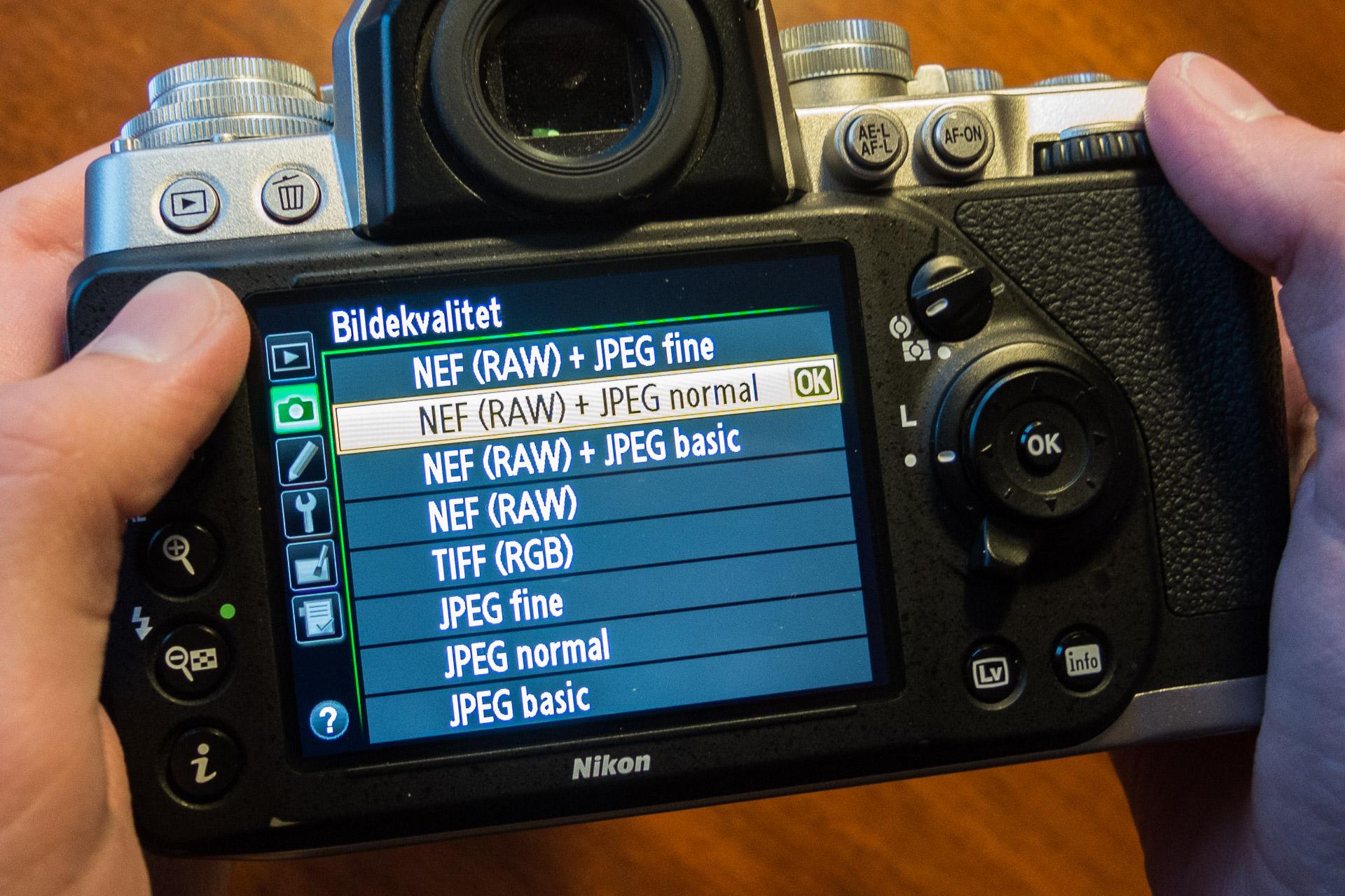 Valg av filformat — RAW, JPEG eller begge deler?