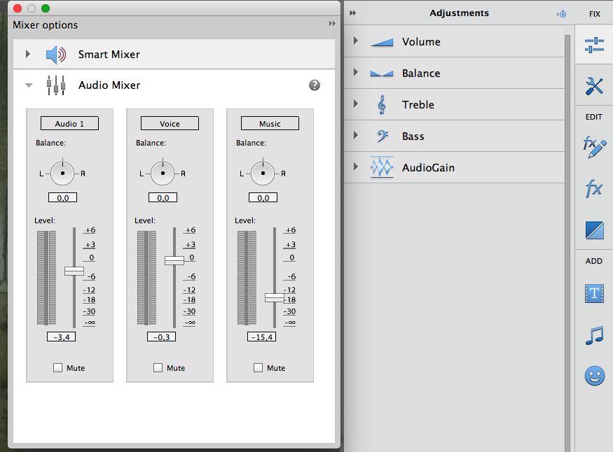 Kvalitetsikring av filmlyd: Audio mixer (skjermbilde)