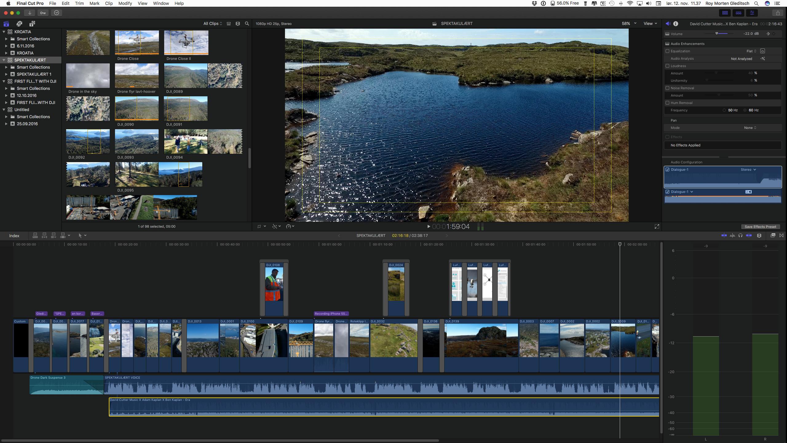 Kvalitetsikring av filmlyd: Final Cut Pro (skjermbilde)