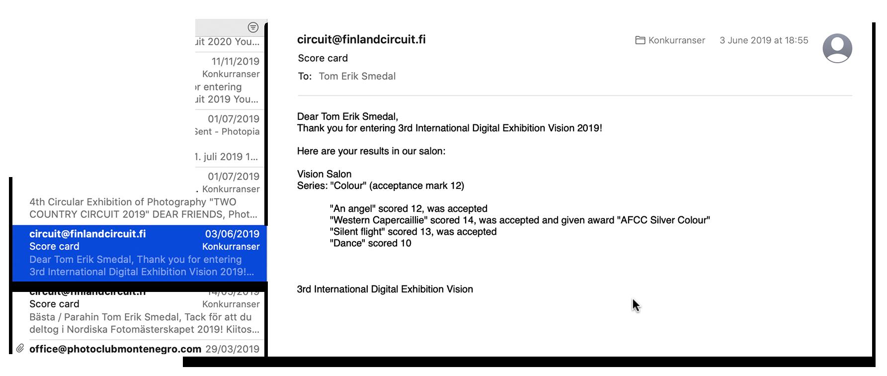 Tom Erik Smedal: Score card